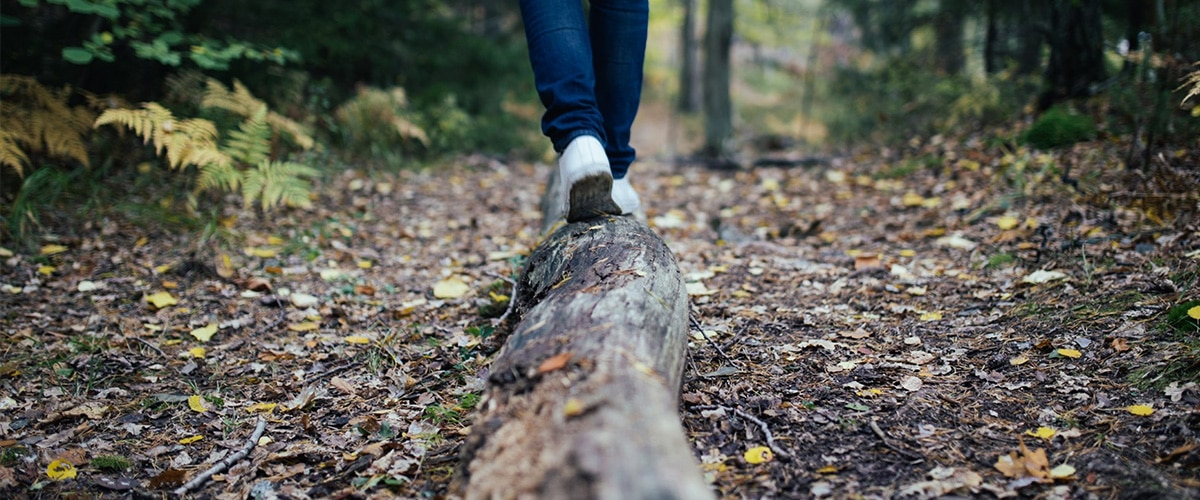 Person balanciert über liegenden Baumstamm