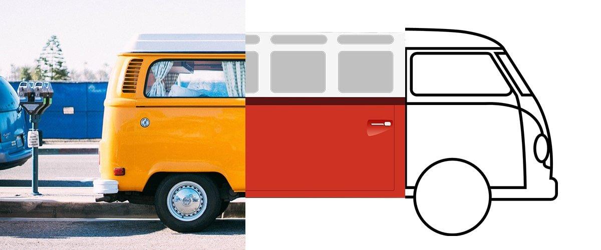 VW Bus unterteilt in drei Designs
