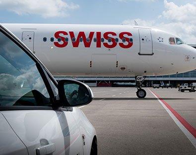 SWISS Flieger auf Vorfeld