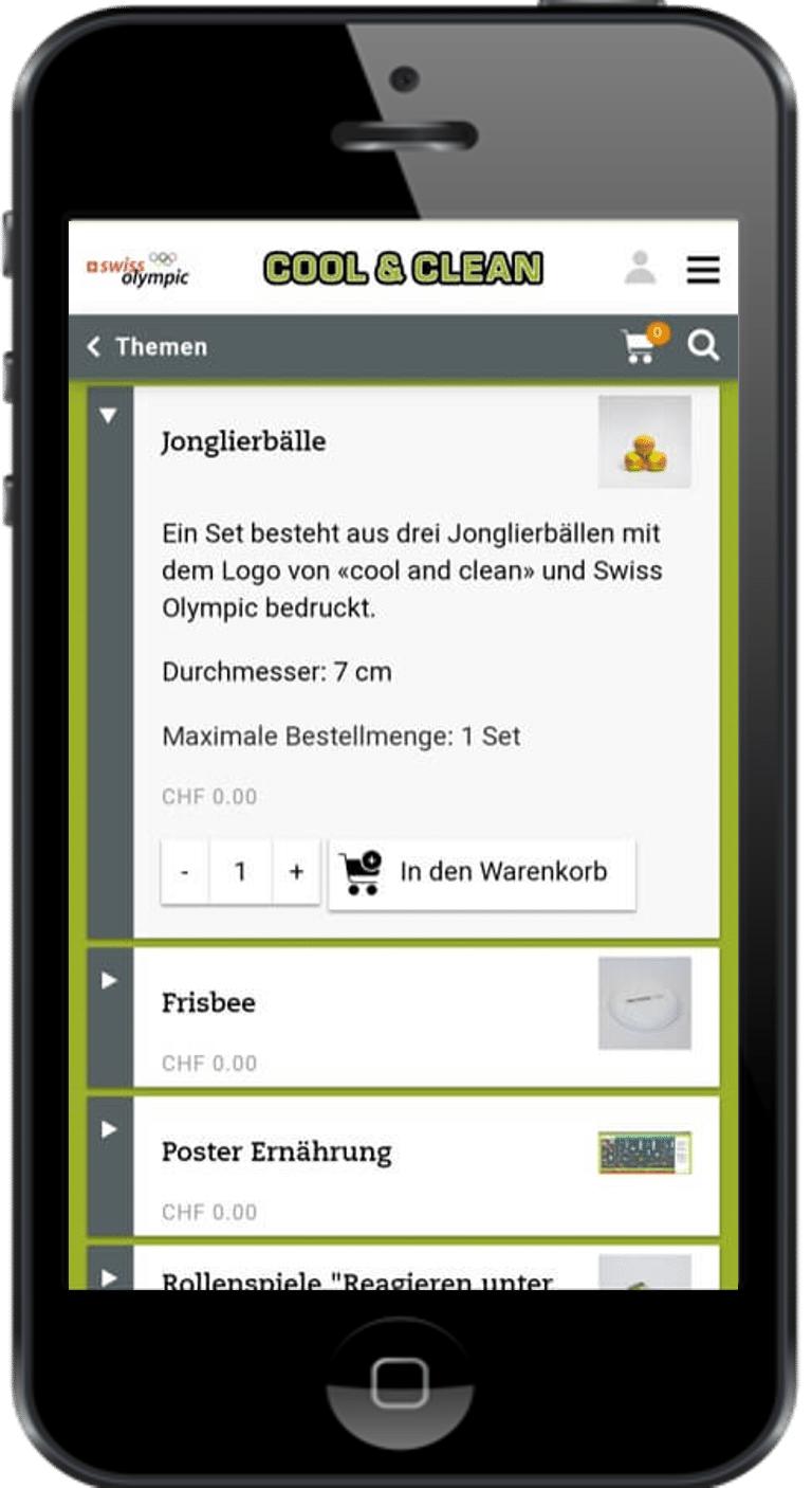 Cool and Clean auf Smartphone