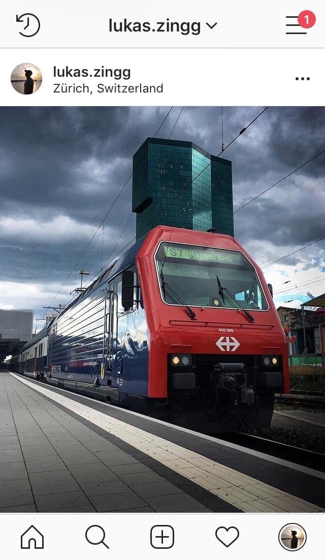 Zug beim Bahnhof Hardbrücke