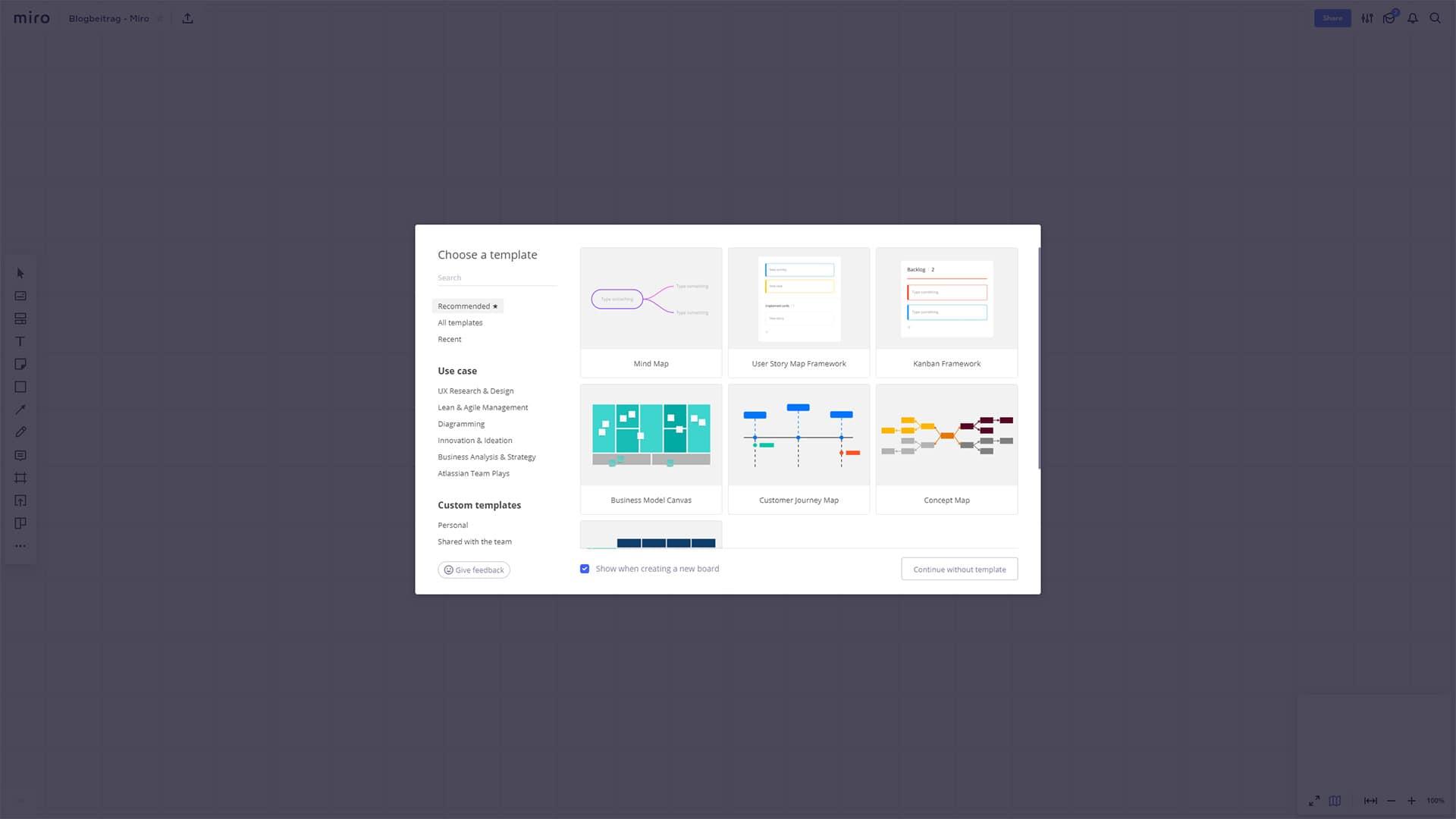Screenshot Miro Darstellungsmöglichkeiten