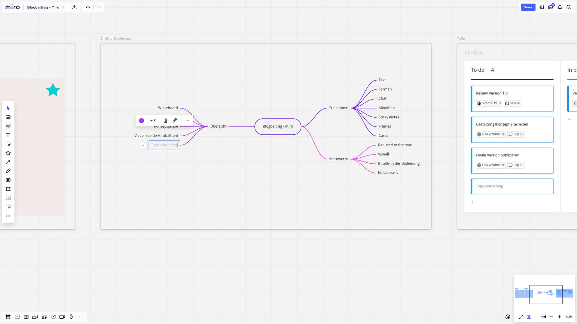 Screenshot Miro Mindmap