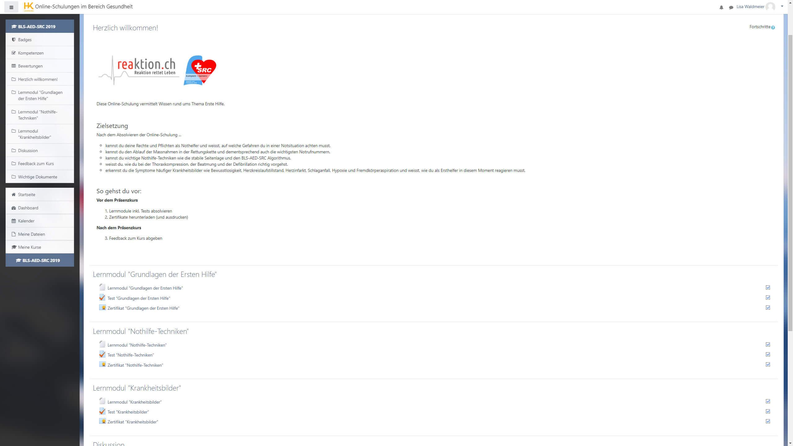 Screenshot Erste Hilfe Lernplattform