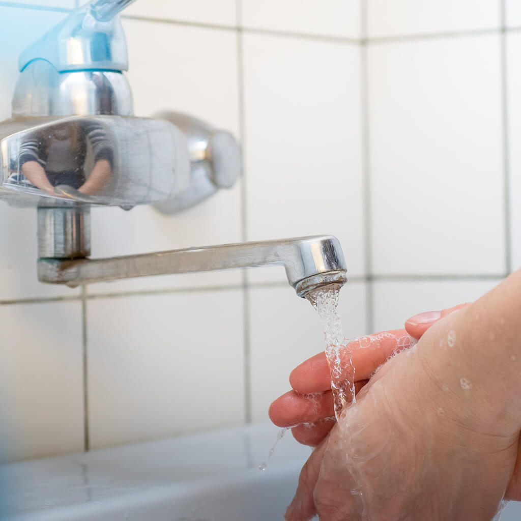 Hygiene Hände waschen mit Seife